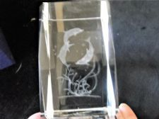 LASER GLASS PAPERWEIGHT IN ORIGINAL BOX DOLPHINS & SEAWEED NEEDS NEW BATTERY